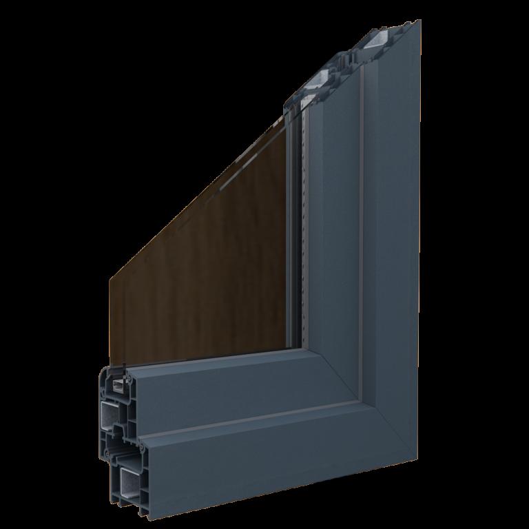 Egepen deceuninck, zendow serisi antrasit renkli pvc pencere ve kapı profili