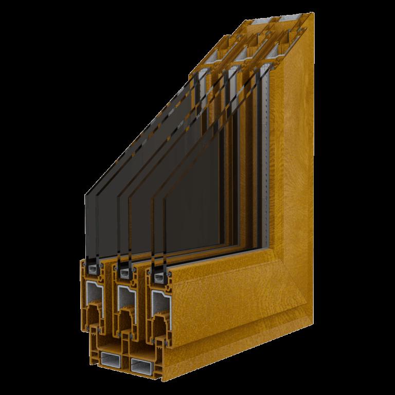 Egepen deceuninck, maestro sürme serisi altınmeşe renkli üç raylı pvc pencere ve kapı profili