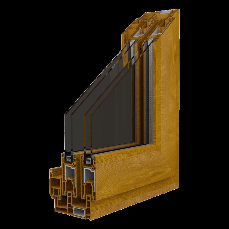 Egepen deceuninck, maestro sürme serisi altınmeşe renkli sineklik raylı pvc pencere ve kapı profili