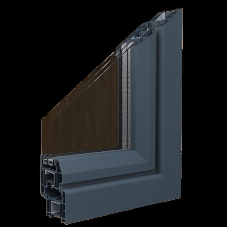 Egepen deceuninck, zendow serisi antrasit renkli damlalıklı kanatlı pvc pencere ve kapı profili