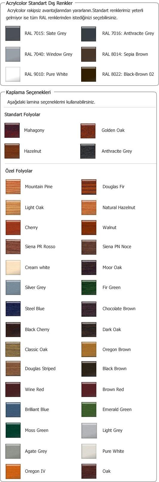 Renkler Folyolar Kaplamalar Agaoglu WinLIFE Gealan Pvc Pencere Kapi Sistemleri