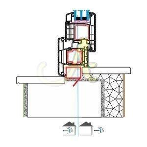 T kasa kapi disa acilim montaj detayı Agaoglu Egepen Deceuninck Gealan PVC pencere kapi sistemleri